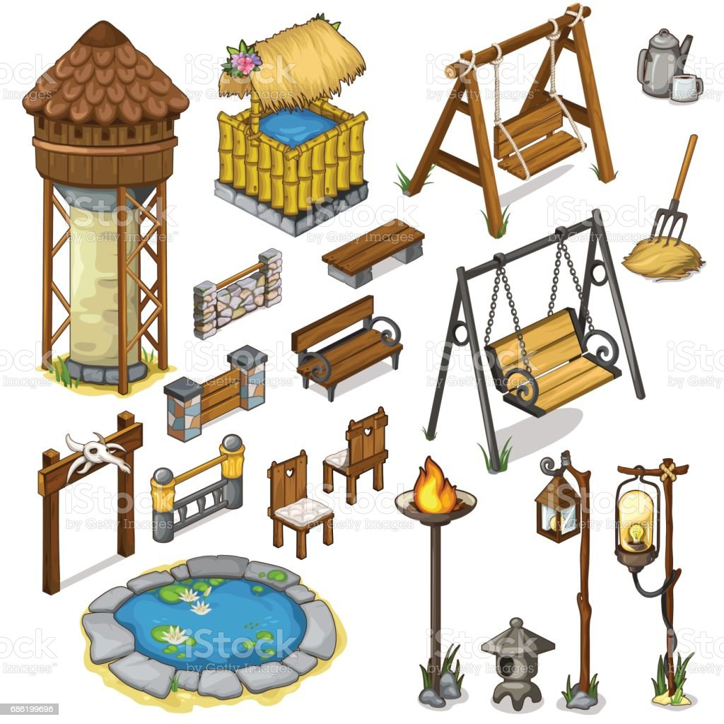 Large vector set constructor items for locations vector art illustration