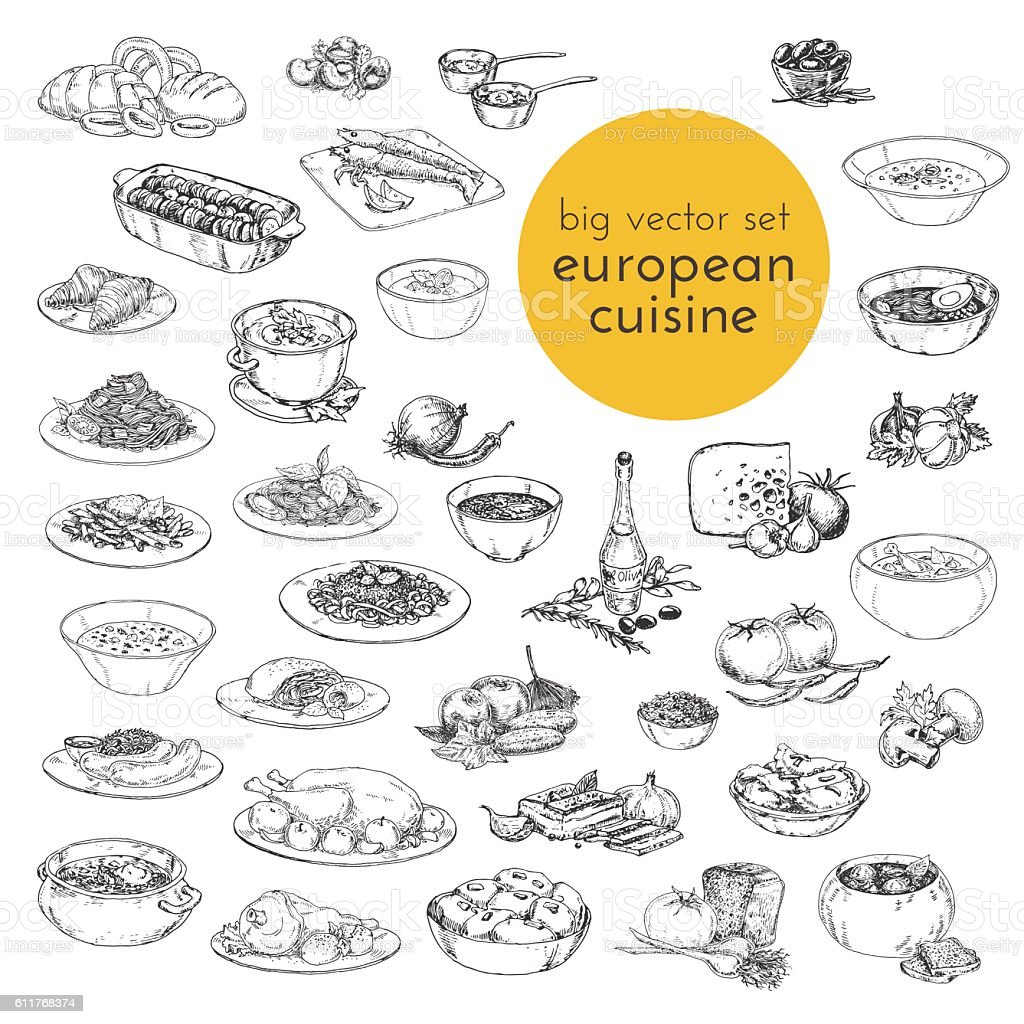 large vector set hand drawn illustrations of food. European cuisine. vector art illustration