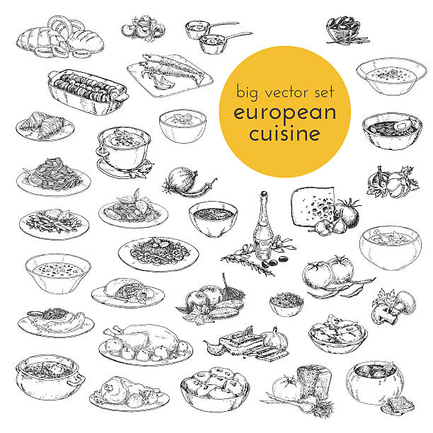 large vector set hand drawn illustrations of food. European cuisine. large vector set hand drawn illustrations of food. European cuisine. sketches for the decoration of restaurants, cafes, menus, cooking black and white stock illustrations
