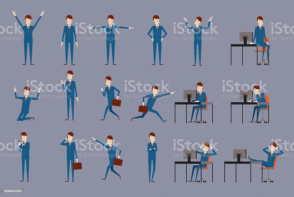 Large vector set of businessman character poses, vector art illustration