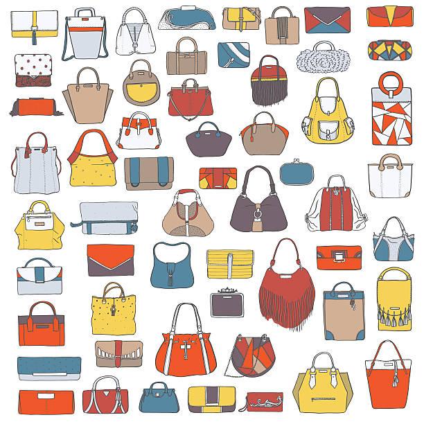 large vector set of doodle hand drawn fashion bags - lederranzen stock-grafiken, -clipart, -cartoons und -symbole