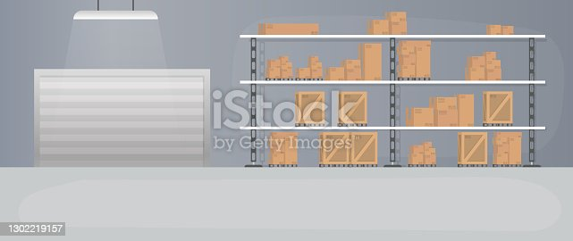 istock Large warehouse with drawers. Rack with drawers and boxes. Carton boxes. Vector. 1302219157