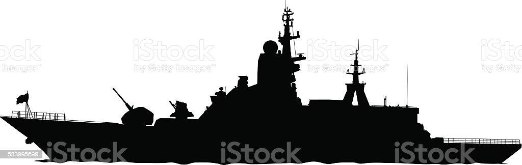 Large warship vector art illustration