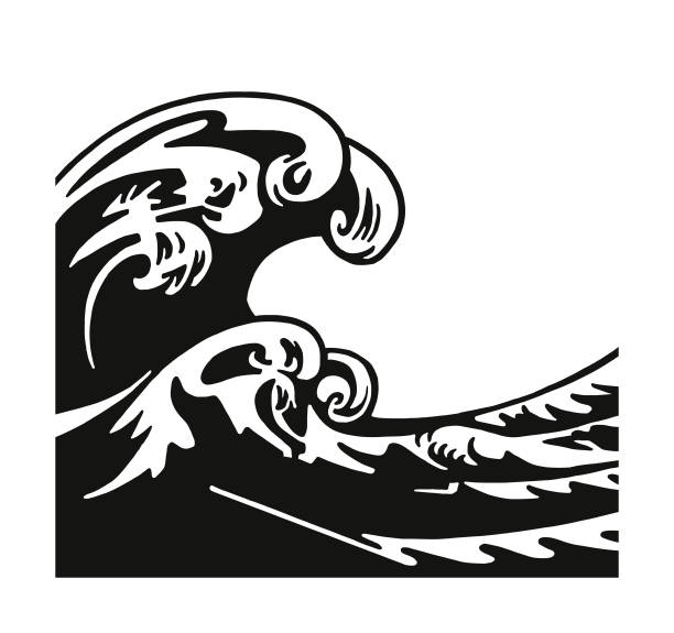 large waves - tidal wave stock illustrations, clip art, cartoons, & icons