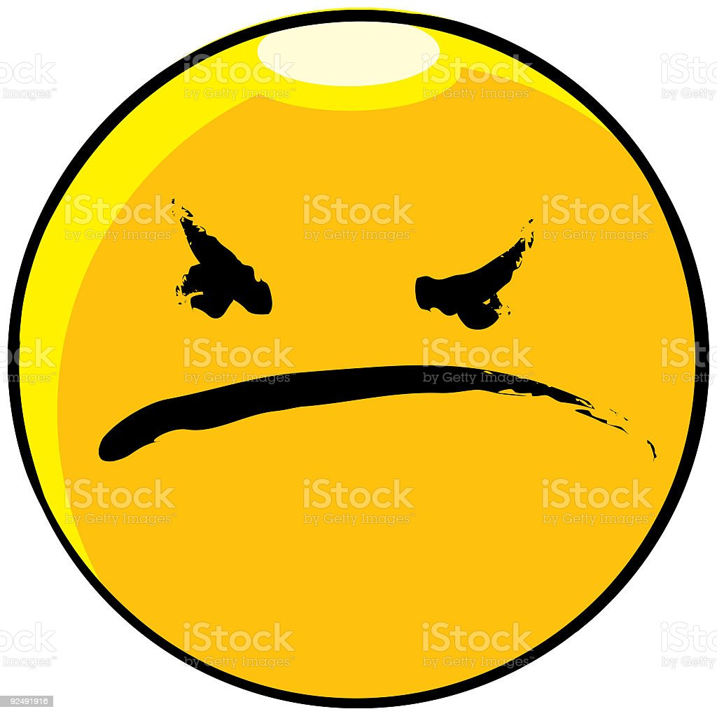 Large yellow angry-face emoticon vector art illustration