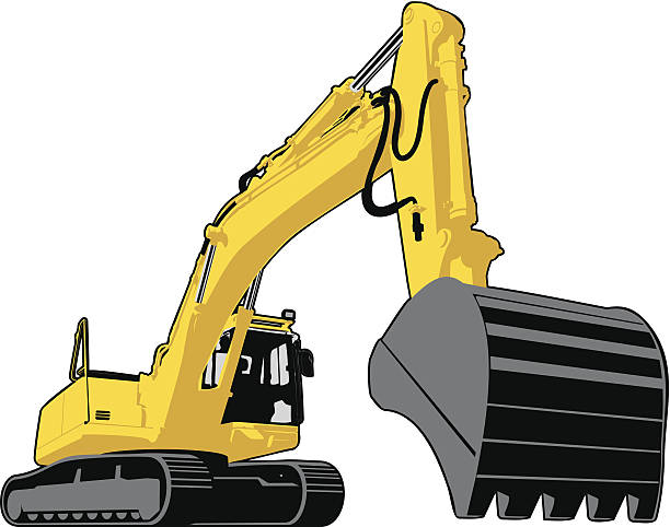 Large yellow excavator with continuous track mobility vector art illustration