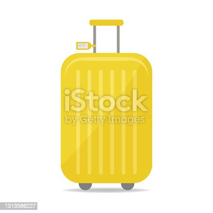 istock Large yellow suitcase on yellow background 1313586227
