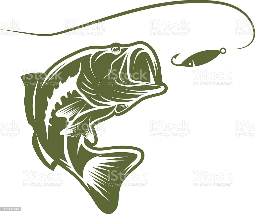 Largemouth Bass And Lure Vector Design Template Stock Vector Art ...
