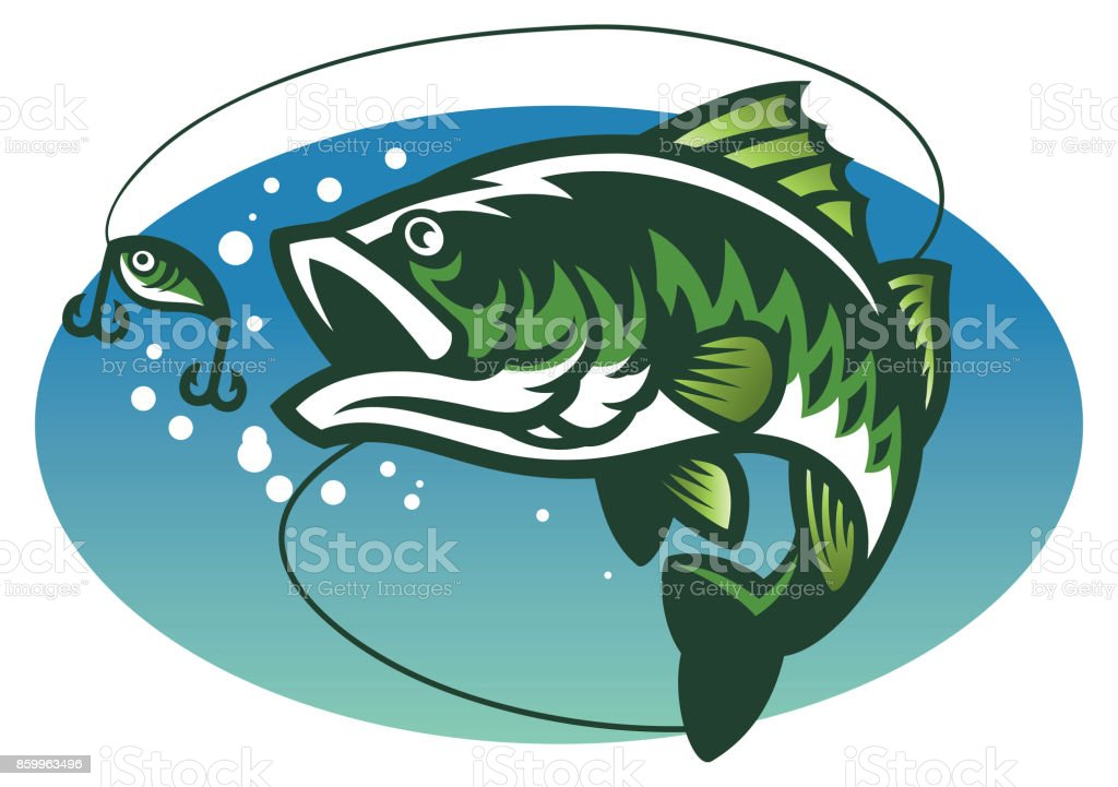 largemouth bass fish mascot vector art illustration