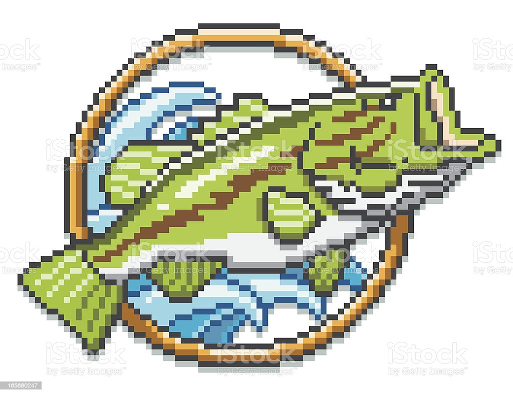 Largemouth Bass - Pixel Art Style royalty-free stock vector art