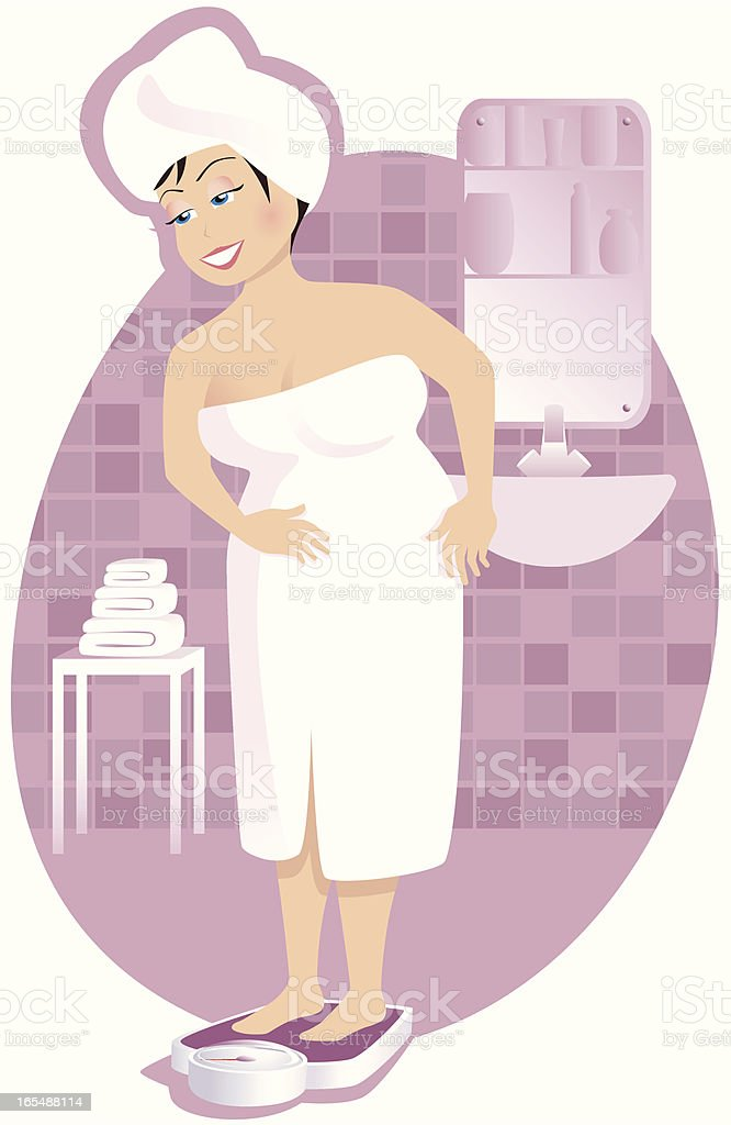 Larger girl weighing herself royalty-free stock vector art