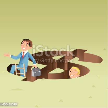 istock Larry and Steve escape the financial hole 455425395