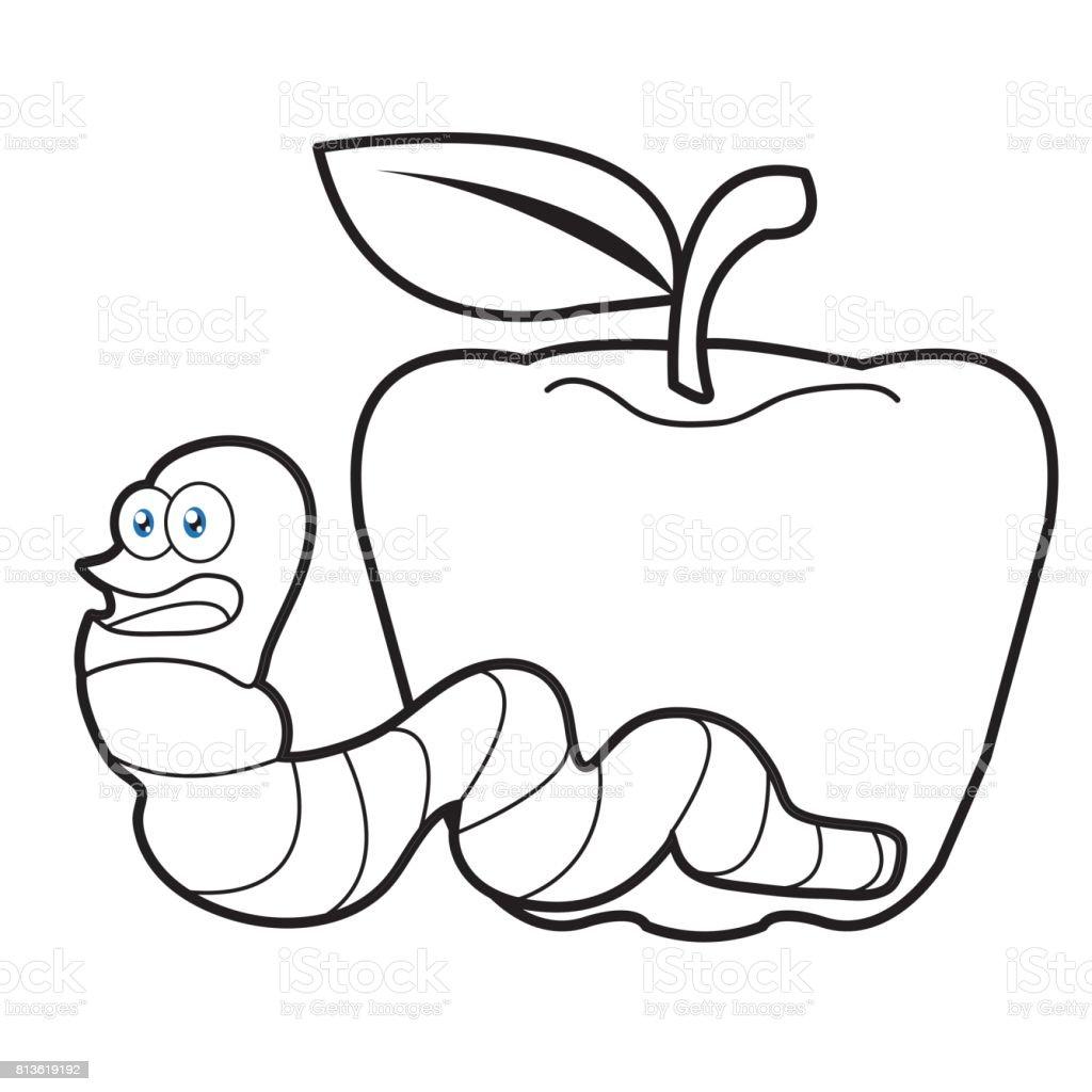 Gusano De La Larva De Dibujos Animados De Bichos Una Página Para ...