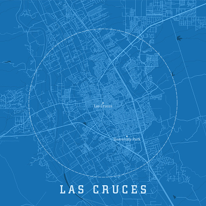 Las Cruces NM City Vector Road Map Blue Text