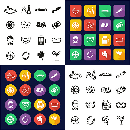 Las Vegas All in One Icons Black & White Color Flat Design Freehand Set