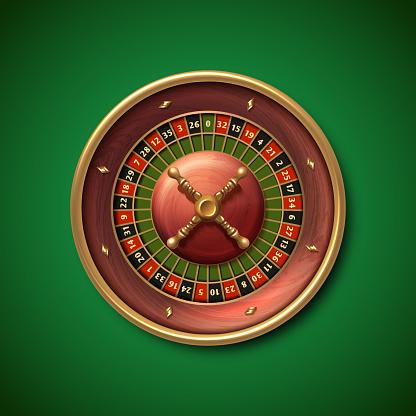 Las Vegas casino roulette wheel isolated vector illustration