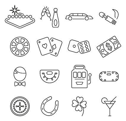 Las Vegas City & Culture or Gambling Icons Thin Line Vector Illustration Set