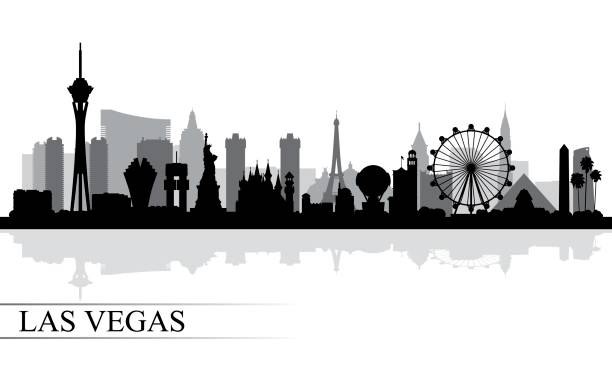 illustrazioni stock, clip art, cartoni animati e icone di tendenza di las vegas city skyline silhouette background - las vegas