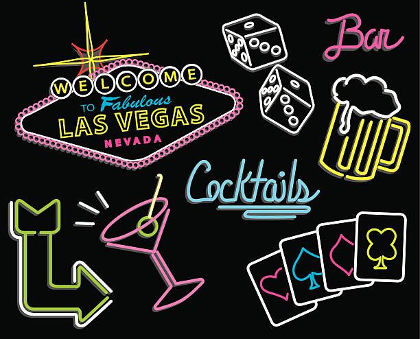 illustrazioni stock, clip art, cartoni animati e icone di tendenza di insegne al neon di las vegas - las vegas