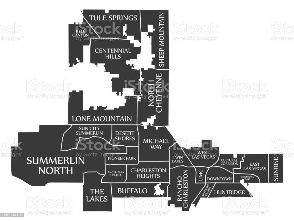 Las Vegas Nevada City Map Usa Labelled Black Illustration Stock ...