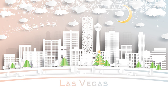 Las Vegas Nevada USA City Skyline in Paper Cut Style with Snowflakes, Moon and Neon Garland.