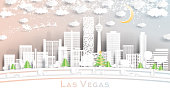 Las Vegas Nevada USA City Skyline in Paper Cut Style with Snowflakes, Moon and Neon Garland. Vector Illustration. Christmas and New Year Concept. Santa Claus on Sleigh.