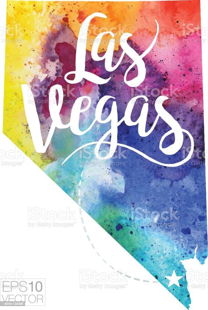 Las Vegas Nevada Usa Vector Watercolor Map Stock Vector Art - Las vegas nevada usa map