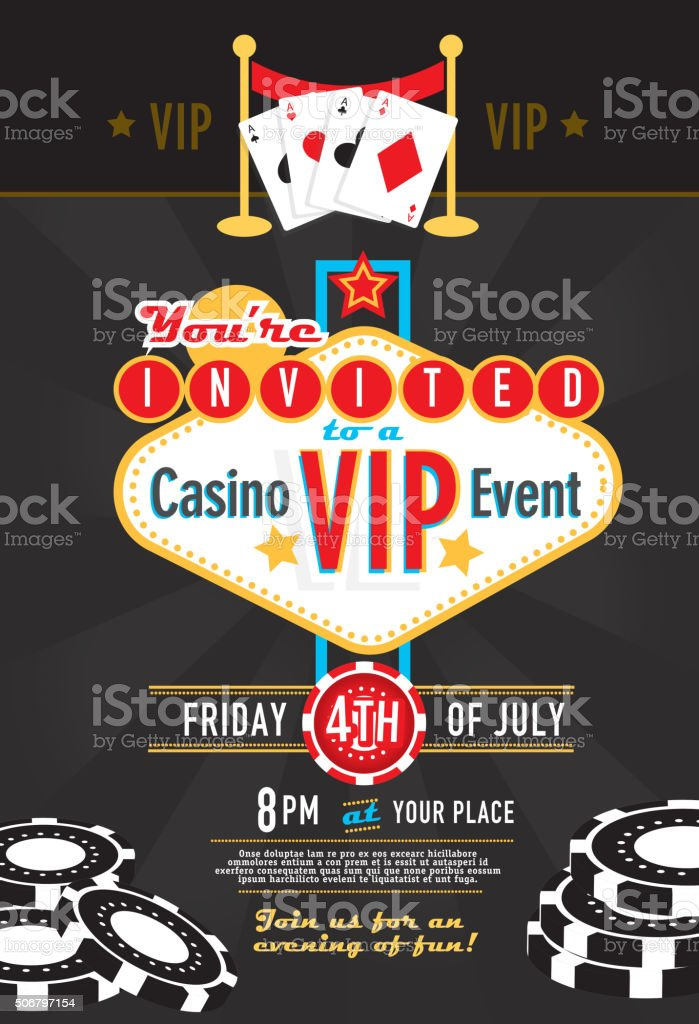 Las Vegas Sign Vip Party Casino Night Invitation Design Template ...