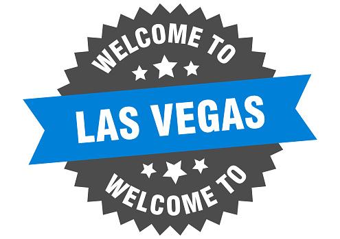 Las Vegas sign. welcome to Las Vegas blue sticker