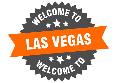 Las Vegas sign. welcome to Las Vegas orange sticker