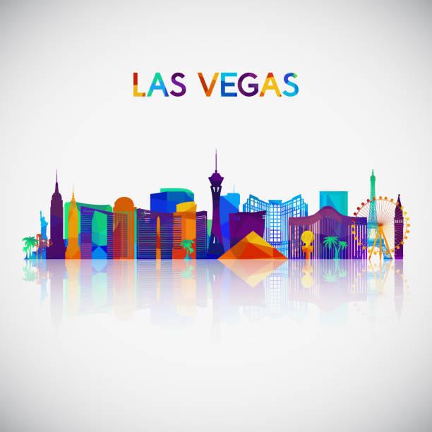 las vegas skyline silhouette in colorful geometric style. symbol for your design. vector illustration. - urban skyline stock illustrations