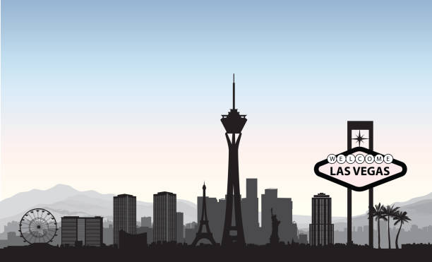Las Vegas skyline. Travel american city landmark background. Urb vector art illustration