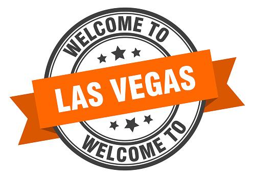 Las Vegas stamp. welcome to Las Vegas orange sign