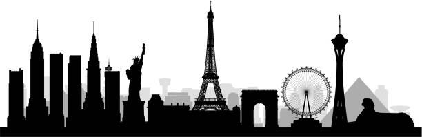 illustrazioni stock, clip art, cartoni animati e icone di tendenza di las vegas (all buildings are complete and moveable) - las vegas