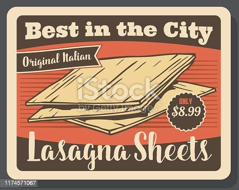 istock Lasagna pasta Italian dish menu 1174571067
