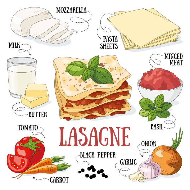 Lasagne Lasagne and its ingredients. Italian traditional cuisine. mozzarella stock illustrations