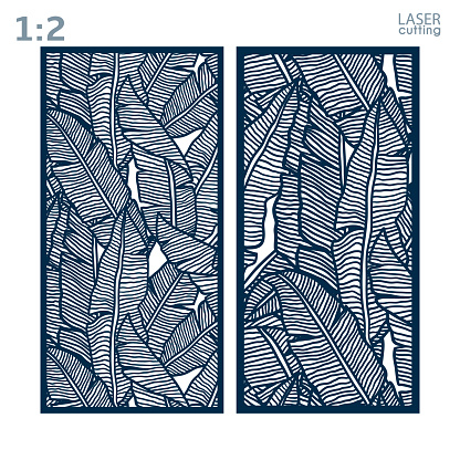 Laser and die cut ornamental panels template with pattern of banana leaves. Lazer cut card. Silhouette pattern. Cabinet fretwork panel. Lasercut metal panel. Wood carving.