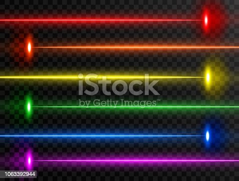 Laser beam set. Colorful rainbow laser beam collection isolated on transparent background. Neon lines. Glow party laser beams abstract effect. Bright futuristic design elements. Vector illustration.