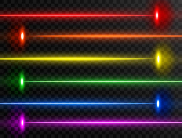 Laser beam set. Colorful rainbow laser beam collection isolated on transparent background. Neon lines. Glow party laser beams abstract effect. Bright futuristic design elements. Vector illustration Laser beam set. Colorful rainbow laser beam collection isolated on transparent background. Neon lines. Glow party laser beams abstract effect. Bright futuristic design elements. Vector illustration. laser stock illustrations