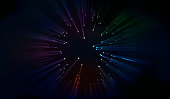 Laser beams of blue and red emitted in different directions. Vector illustration. Light Effects Night background