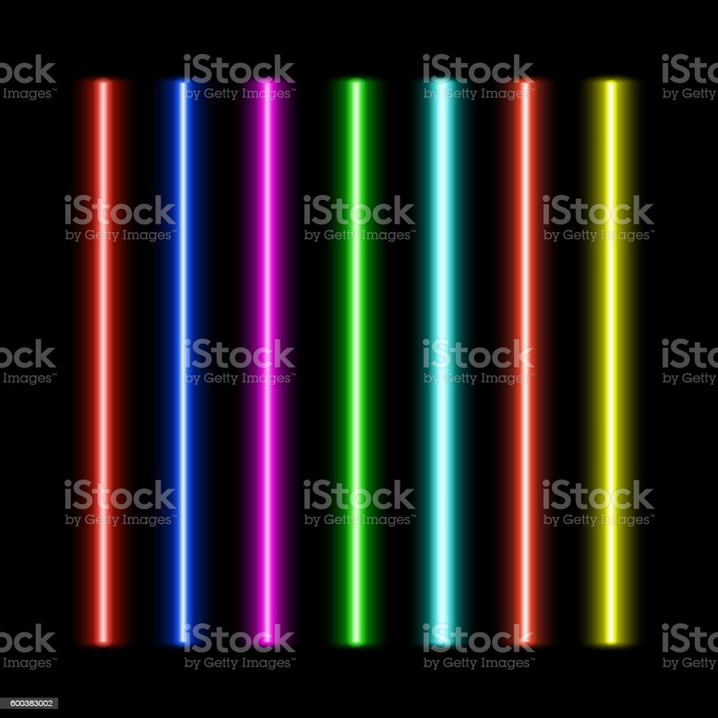 Laser beams set vector art illustration