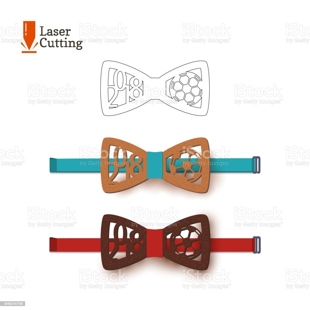 laser cut bowtie template souvenir for world football cup 2018 with