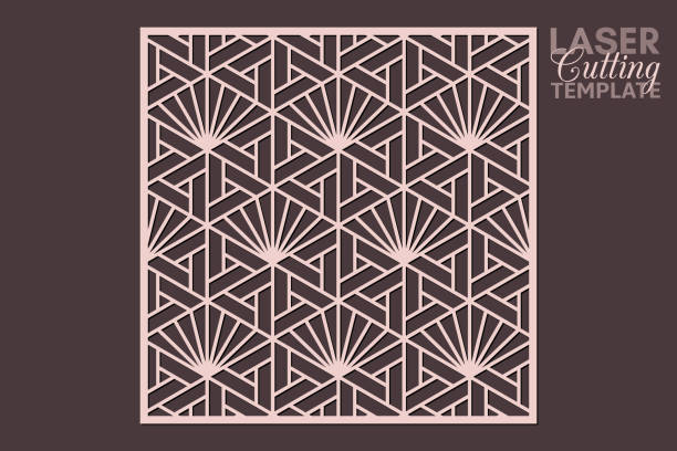 Laser cut cabinet fretwork perforated panel template with pattern in japanese kumiko style. Geometric hexagon ornamental panel, rate 1:1. Metal, paper or wood carving. Outdoor screen. Laser cut cabinet fretwork perforated panel template with pattern in japanese kumiko style. Geometric hexagon ornamental panel, rate 1:1. Metal, paper or wood carving. Outdoor screen. decorative laser cut set stock illustrations