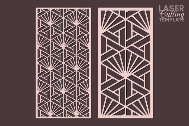 Laser cut cabinet fretwork perforated panel templates with pattern in japanese kumiko style. Geometric hexagon ornamental panels, rate 1:2. Metal, paper or wood carving. Outdoor screen. Laser cut cabinet fretwork perforated panel templates with pattern in japanese kumiko style. Geometric hexagon ornamental panels, rate 1:2. Metal, paper or wood carving. Outdoor screen. decorative laser cut set stock illustrations