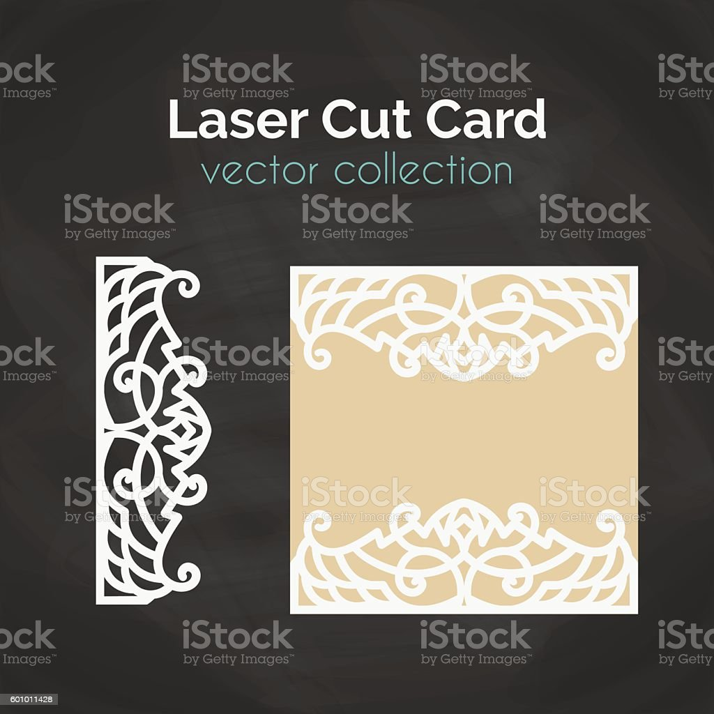 Laser Cut Card. Template For Cutting. Cutout Illustration. vector art illustration