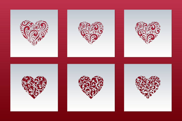 Laser cut cards set with hearts of lace pattern. Panel templates for interior design, layouts wedding cards, invitations, Valentine's Day cards. Vector Valentine background. Laser cut cards set with hearts of lace pattern. Panel templates for interior design, layouts wedding cards, invitations, Valentine's Day cards. Vector Valentine background. decorative laser cut set stock illustrations