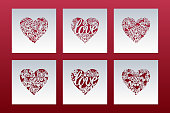 Laser cut cards set with hearts of lace pattern. Panel templates for interior design, layouts wedding cards, invitations, Valentine's Day cards. Vector Valentine background.