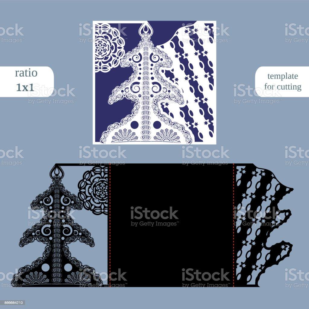 Lasergeschnittenes Weihnachten Quadratische Kartenvorlage Schneiden ...