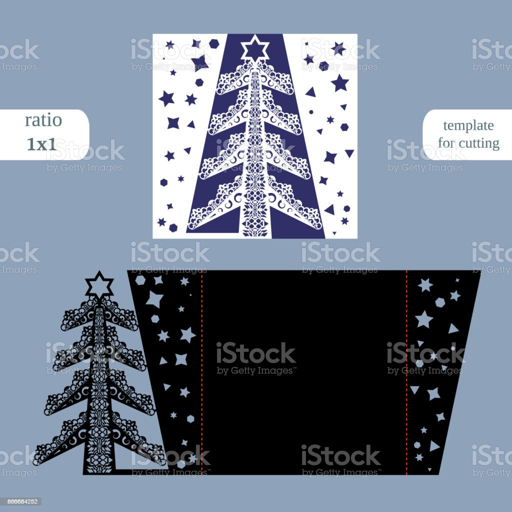 Laser cut christmas square card template. Cut out the paper card with...
