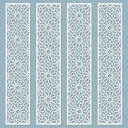 Laser cut decorative lace borders with arabic pattern. Set of bookmarks templates. Cabinet fretwork panel. Lasercut metal panel. Wood carving. Vector.